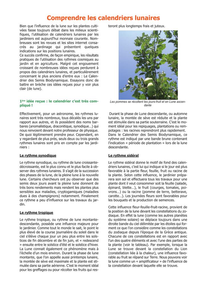 Calendrier Des Semis Biodynamique.Mise En Page 1 Bio
