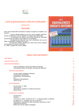 liste equivalences circuits integres resume table des matieres
