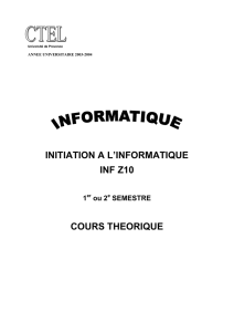 initiation a l`informatique inf z10 cours theorique - Fox XP