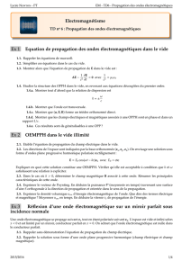 Electromagnétisme Ex 1 Equation de propagation des ondes