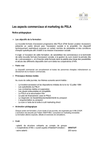 Les aspects commerciaux et marketing du PSLA