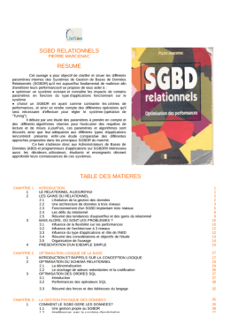 sgbd relationnels resume table des matieres