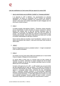 modifications par rapport à la version 2002 du Code