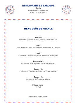 restaurant le baroque menu goût de france