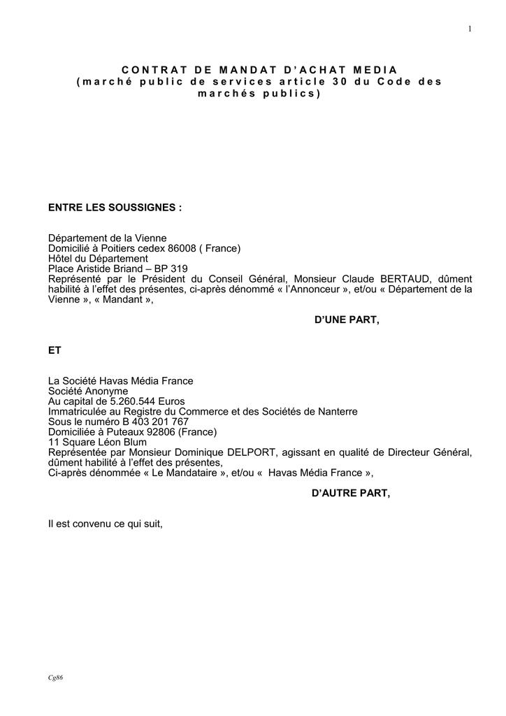 Contrat De Mandat D Achat Media