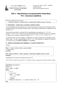 NTE 3 – Algorithmique et programmation Visual Basic