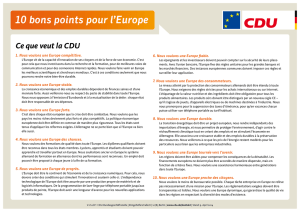 10 bons points pour l`Europe