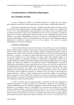 Transformations et aliénations linguistiques par Christine Jourdan