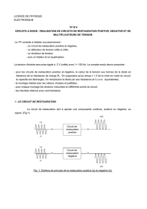 licence de physique electronique tp n°4 circuits a diode
