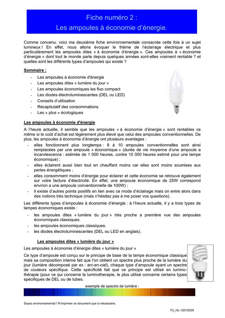 D`énergie 2Les Ampoules À Économie Fiche Numéro kOP8wn0X
