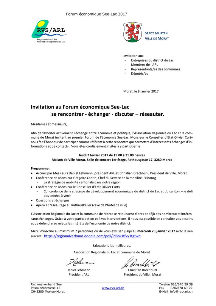 Invitation Au Forum Economique See Lac Se Rencontrer