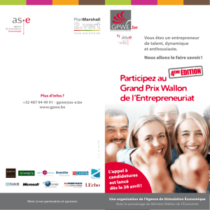 Participez au Grand Prix Wallon de l`Entrepreneuriat
