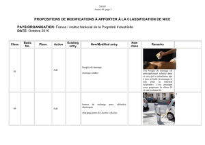 PROPOSITIONS DE MODIFICATIONS À APPORTER À LA