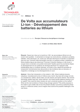 De Volta aux accumulateurs Li-ion