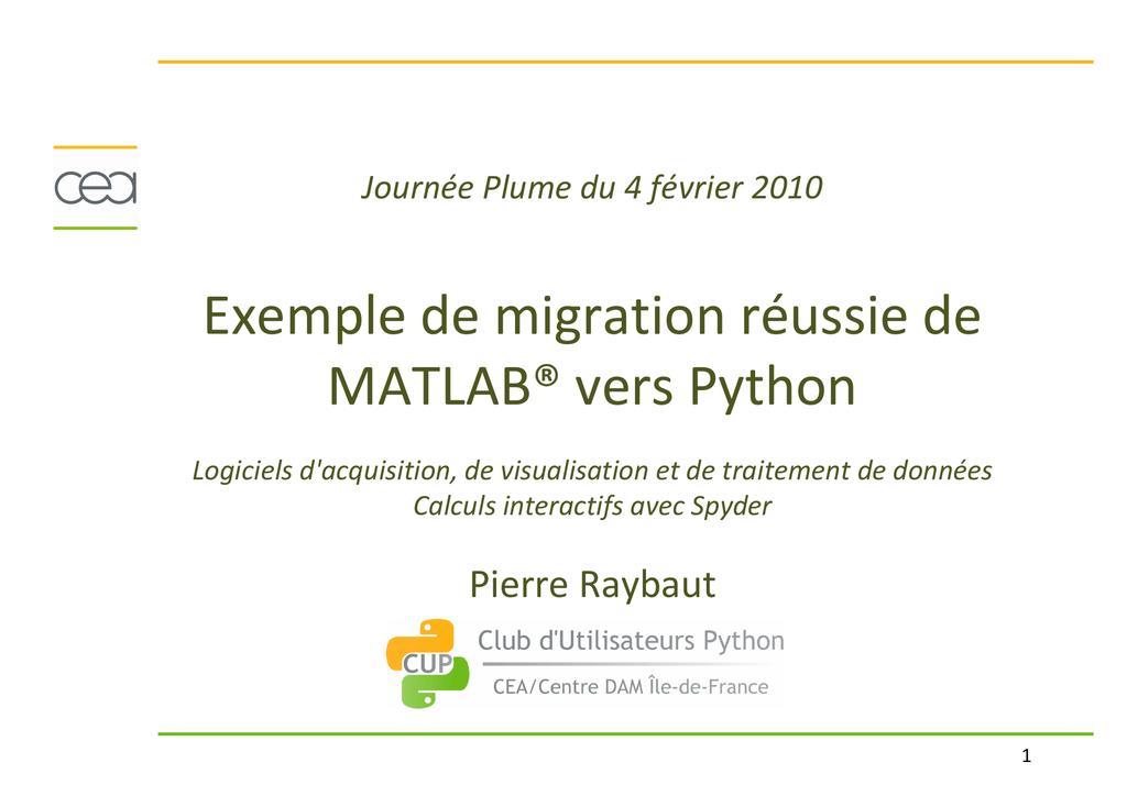 Exemple de migration réussie de MATLAB® vers Python
