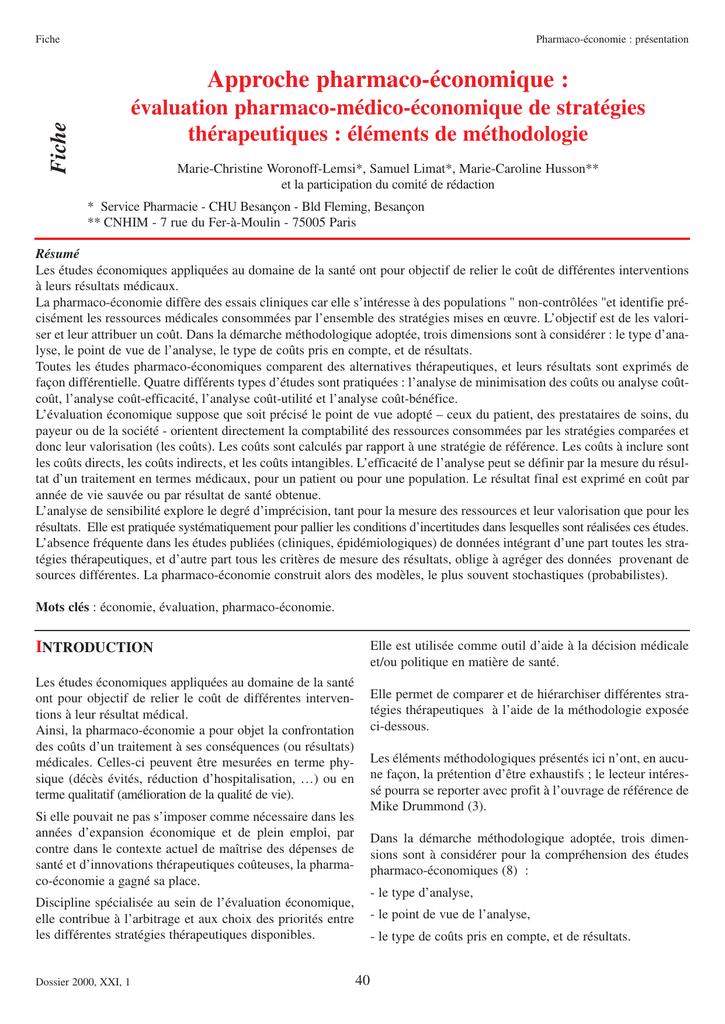 introduction a la pharmacoeconomie