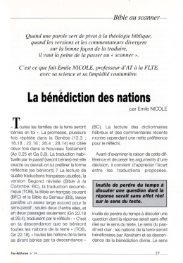 La bénédiction des nations