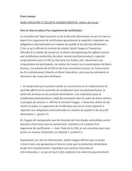 Press release AGRO-INDUSTRIE ET SECURITE ALIMENTAIRE