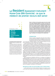 Le ResidentAssessment Instrument- Home-Care (RAI