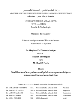 Mémoire de MAGISTER - Université Ferhat Abbas