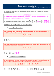 Fractions : opérations