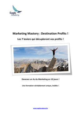 Marketing Mastery : Destination Profits