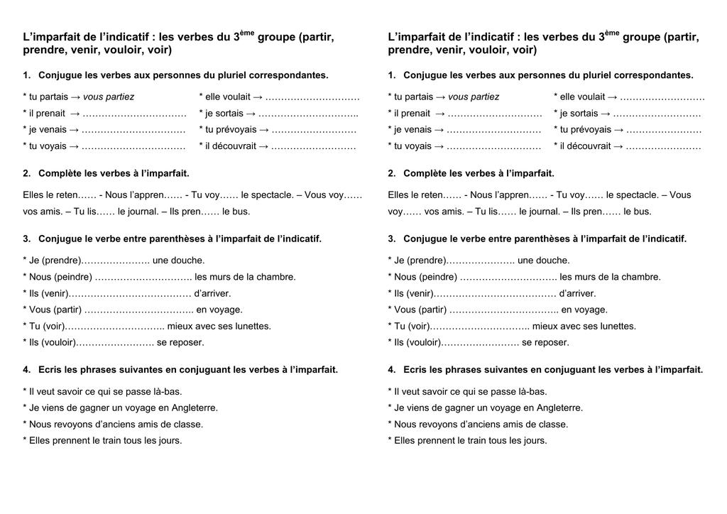 L Imparfait De L Indicatif Les Verbes Du 3 Groupe Partir Prendre