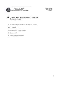 VII - LA REPONSE IMMUNITAIRE A L`INFECTION (5) LA MEMOIRE