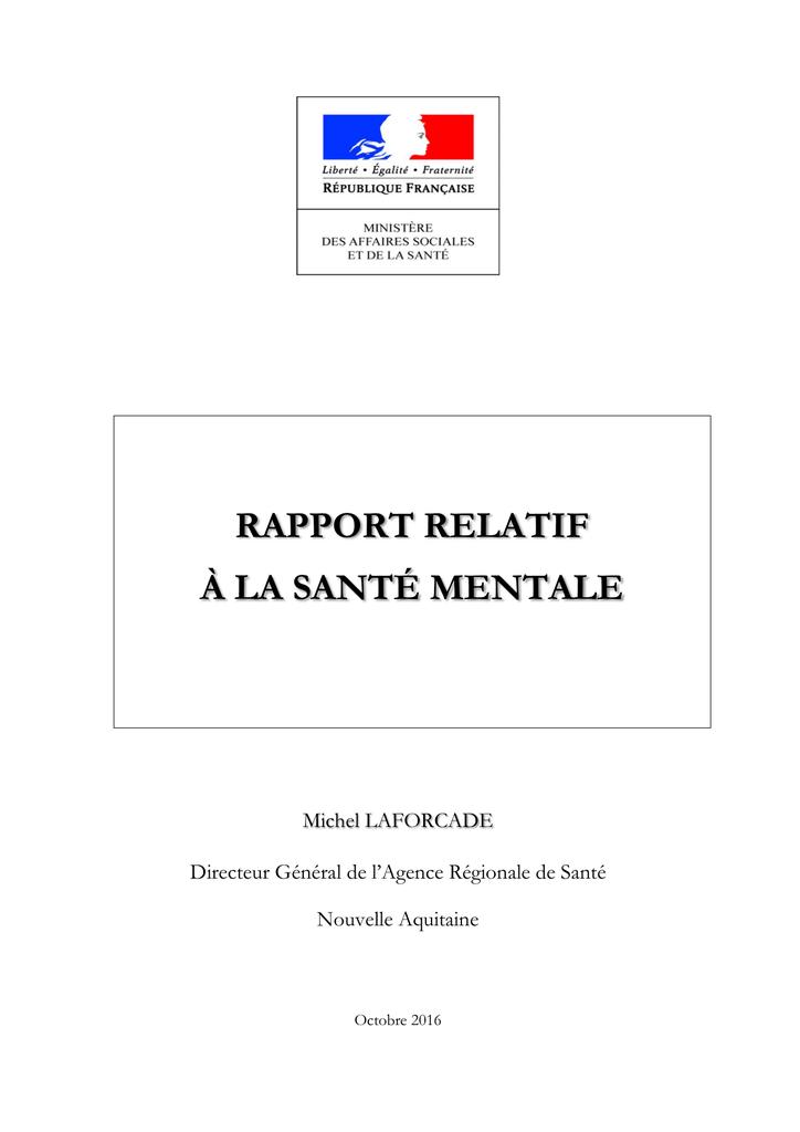 339edf37762 Rapport relatif à la santé mentale - Ministère des Affaires sociales et
