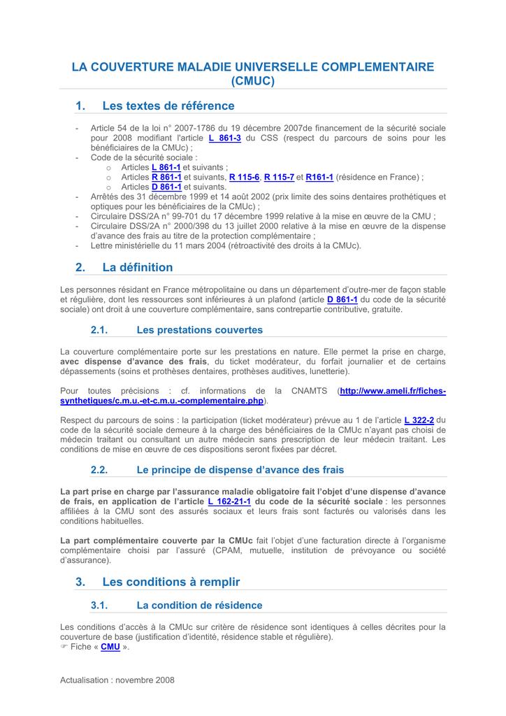 La couverture maladie universelle complémentaire (CMUc)
