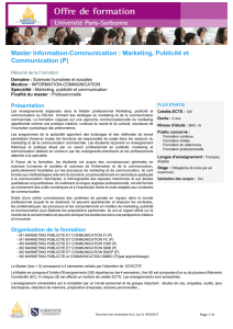 Master Information-Communication : Marketing, Publicité et