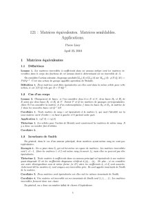 121 : Matrices équivalentes. Matrices semblables. Applications.