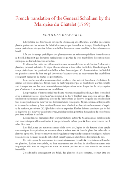 French translation of the General Scholium by the Marquise du