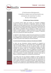 TRIBUNE 26.01.2016 IT Performance Management : 3 bénéfices