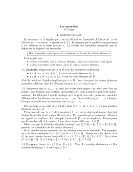 Les ensembles D. Daigle 1. Notions de base La notation x ∈ A