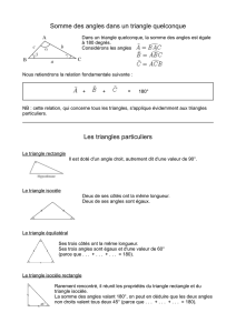 Somme des angles dans un triangle quelconque Les triangles