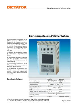 Transformateurs d`alimentation