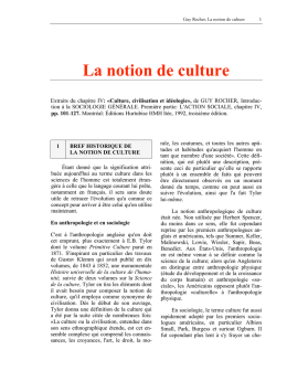 Notions de culture et civilisation