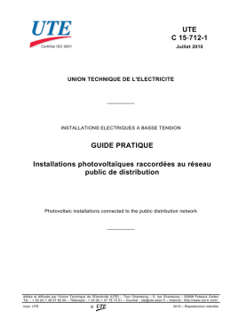 UTE C 15-712-1 GUIDE PRATIQUE Installations