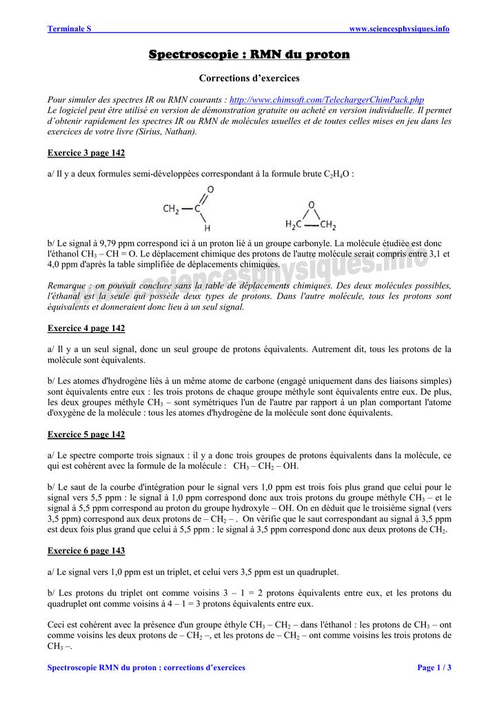 Exercices : la spectroscopie RMN