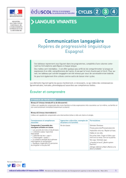 LANGUES VIVANTES Communication langagière