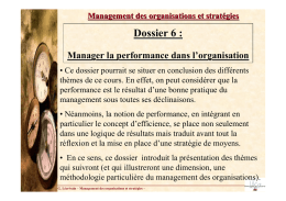 Manager la performance dans l`organisation