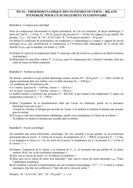 TD T6 : THERMODYNAMIQUE DES SYSTEMES OUVERTS