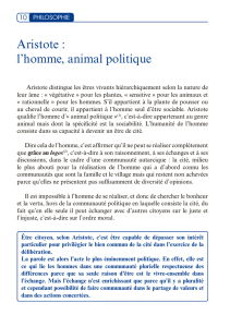 Aristote : l`homme, animal politique