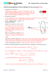 TD15 Induction electromagnetique, aimant corrige