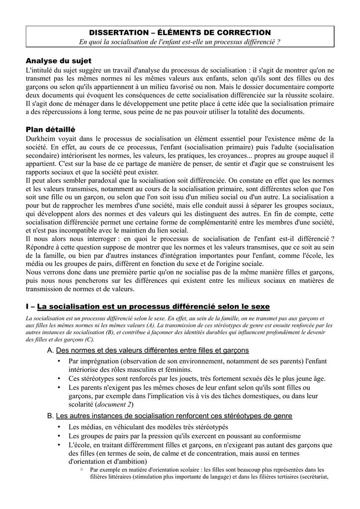 dissertation socialisation primaire et secondaire