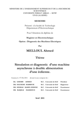 MELLOUL Ahmed Simulation et diagnostic d`une machine