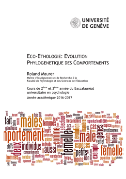 eco-ethologie: evolution phylogenetique des comportements