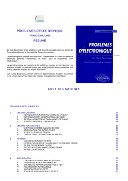 problemes d`electronique resume table des matieres