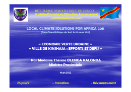 VILLE DE KINSHASA - Local Climate Solutions for Africa